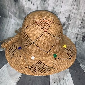 Vintage Straw Hat Wicker Womans Beaded One Size
